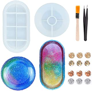 Jimiston - 2 moldes de resina epoxi para moldear joyas, moldes de silicona irregular con copos dorados, pincel y pinzas, r...