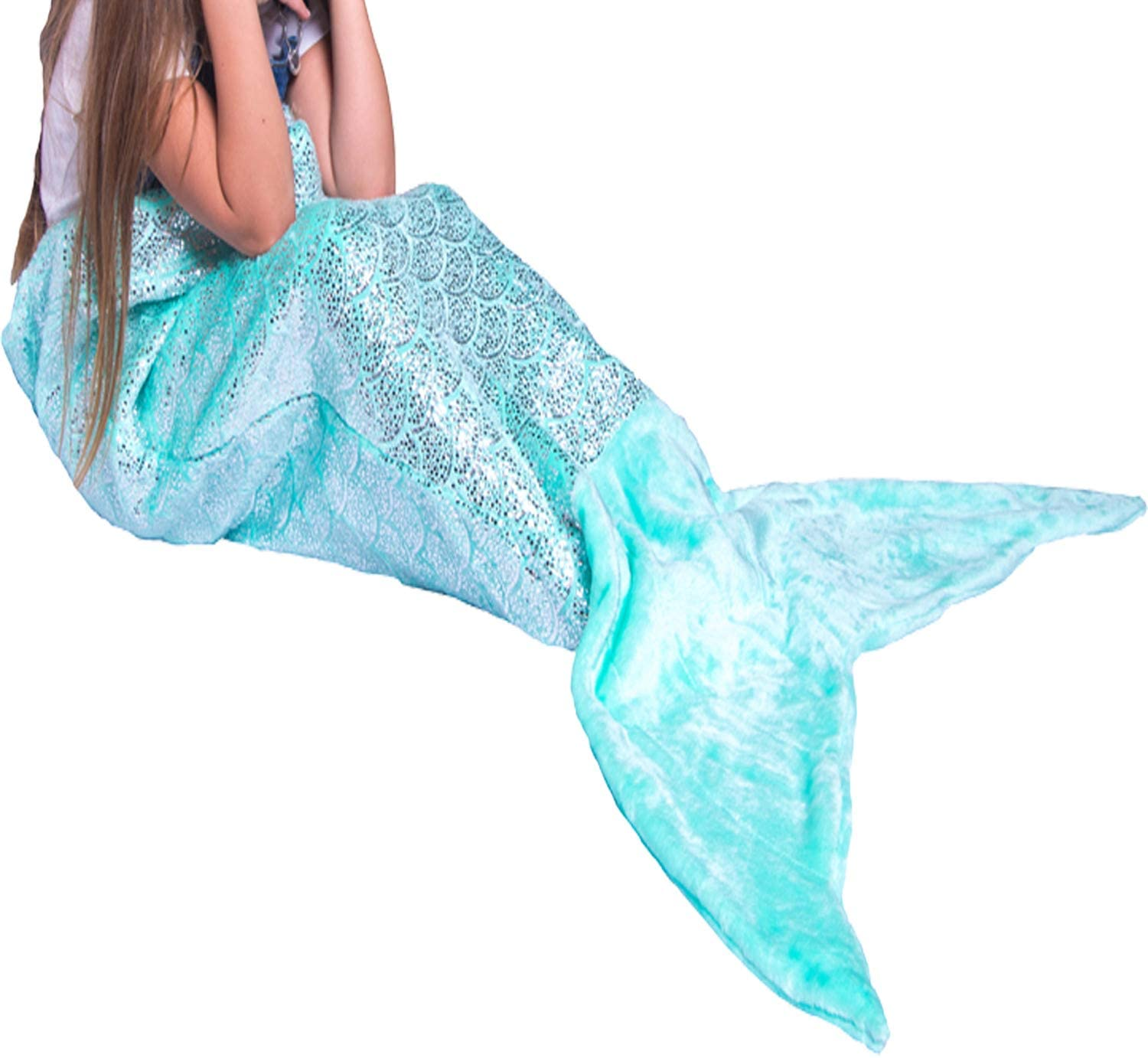 BLUE MERMAID Double Sided Super Soft Cuddle Fleece Fabric Material