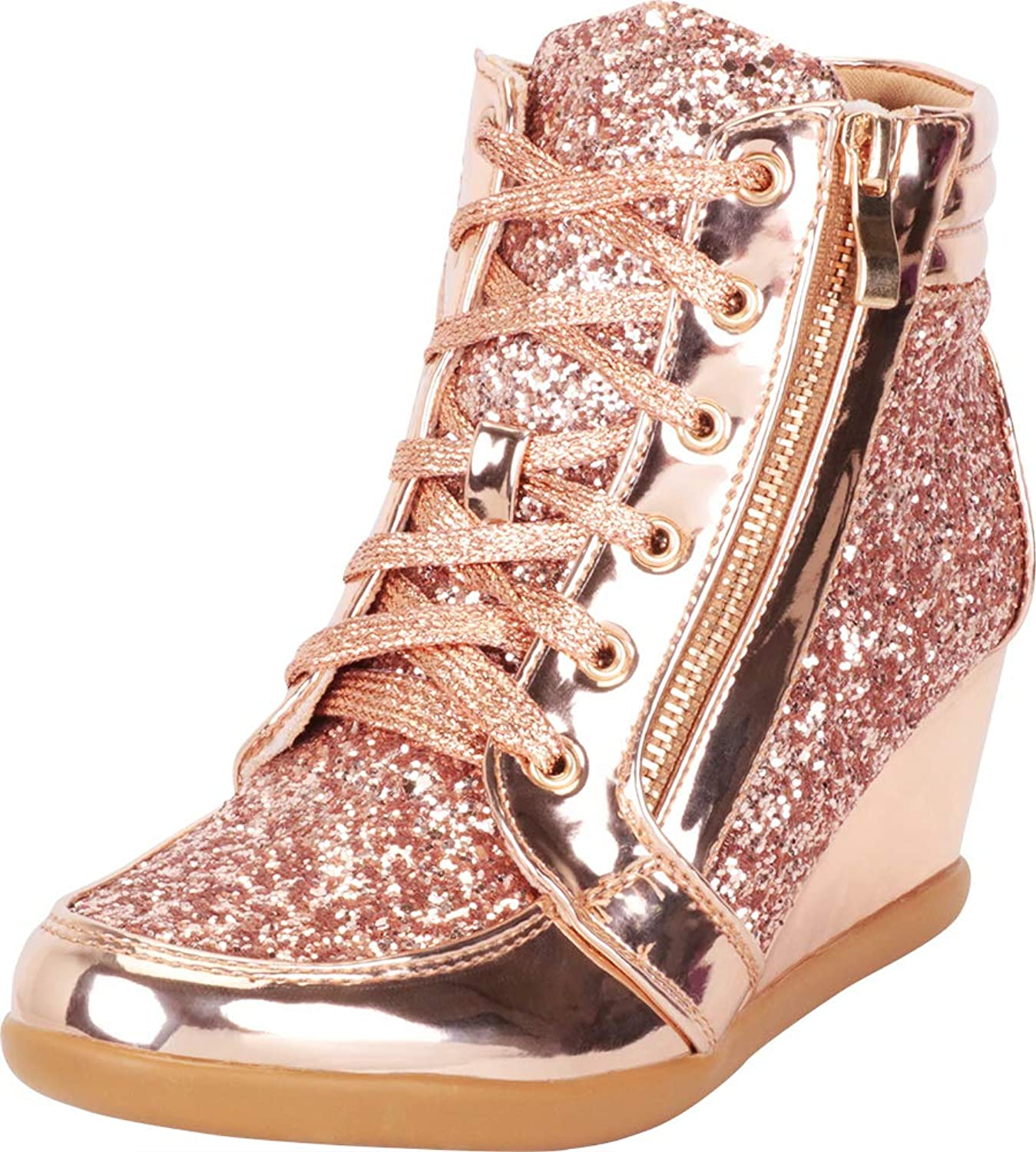 Cambridge Select Women's Glitter Lace-Up Zipper Wedge Fashion Sneaker