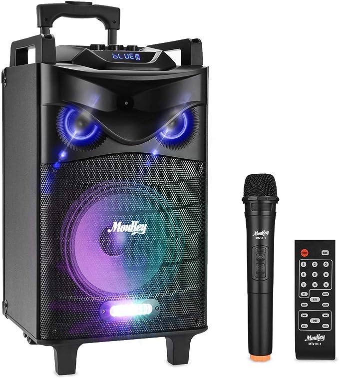 Amazon.com: Moukey Karaoke - Altavoz inalámbrico portátil Bluetooth para exteriores, sistema PA con subwoofer de 10 pulgadas, luces DJ, batería recargable, micrófono, grabación, MP3/USB/TF/FM (RMS 140W a 520W pico) : Instrumentos Musicales