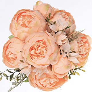 Luyue Vintage Artificial Peony Silk Flowers Bouquet Home Wedding Decoration (Spring Orange)