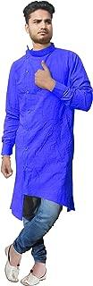 Lakkar Haveli Indian Men's Trail Cut Kurta Shirt Cotton Tunic Royal Blue Color Plus Size