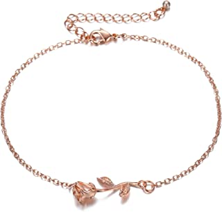 3UMeter Rose Women Girls Anklets Jewelry - Electroplate Brass Rose Gold Anklets for Female, Great Foot Bracelet Gift Valentine Mother's Day Birthday