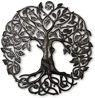 Large Celtic Tree of Life, Large Outdoor Wall Art, Recycled Metal Haiti, 33 x 33 Inches
