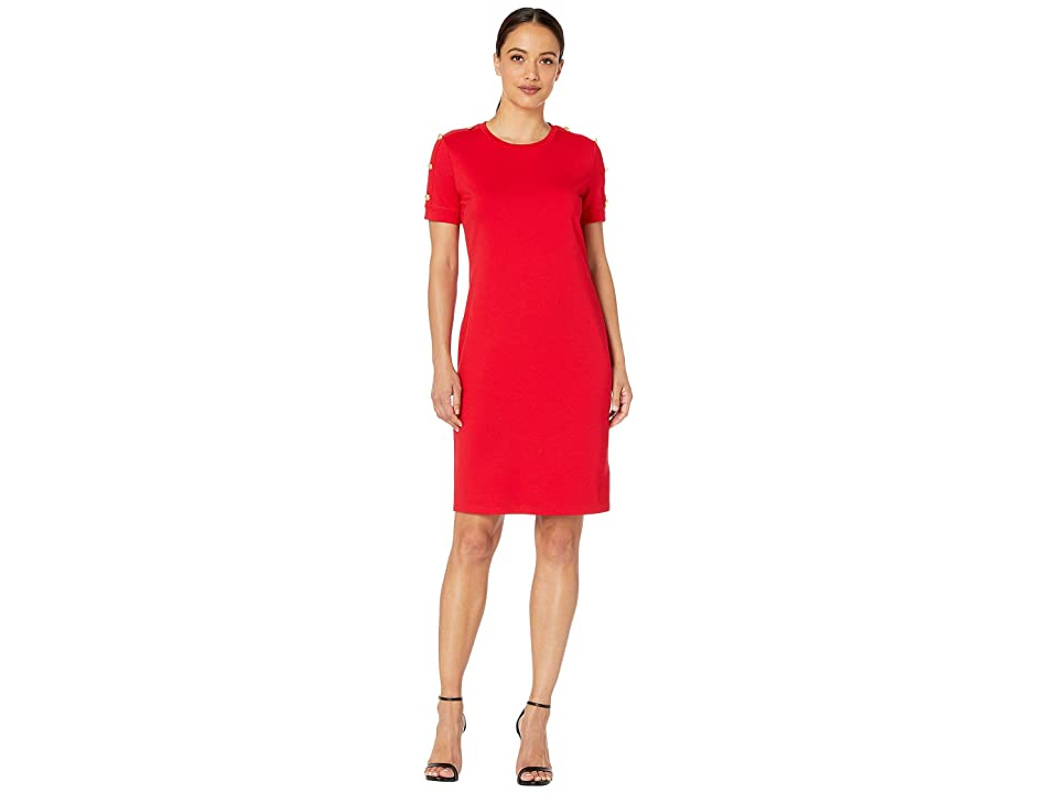 LAUREN Ralph Lauren Petite Button-Shoulder Ponte Dress (Lipstick Red) Women