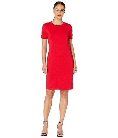 LAUREN Ralph Lauren Petite Button-Shoulder Ponte Dress (Lipstick Red) Women