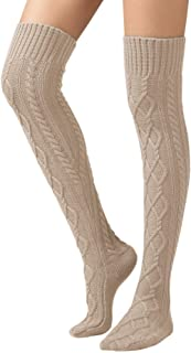 SherryDC Women's Cable Knit Thigh High Boot Socks Extra Long Winter Stockings Leg Warmers