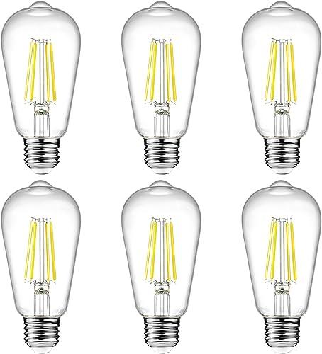 Ascher Vintage LED Edison Bulbs, 6W, Equivalent 60W, High Brightness Daylight White 4000K, ST58 Antique LED Filament ...