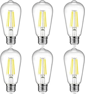 Ascher Vintage LED Edison Bulbs, 6W, Equivalent 60W, High Brightness Daylight White 4000K, ST58 Antique LED Filament Bulbs, E26 Medium Base, Non Dimmable, Clear Glass, Pack of 6
