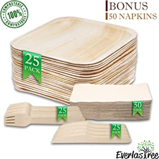 Palm Leaf Compostable Plates Disposable - Biodegradable Paper Plate Alternative - 25 10in Square with 25 Cutlery Utensils Eco Friendly Party Dinnerware Set - BBQ Wedding Shower - BONUS 50 Napkins