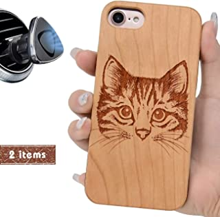 iProductsUS Wooden Phone Case Compatible with iPhone 8, 7, 6/6S and Magnetic Mount, Unique Cases Engraved Cute Cat, Built-in Metal Plate,TPU Rubber Protective Shockproof Covers (4.7 inch)