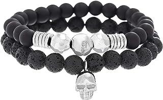 Steve Madden Men's Stainless Steel Skull Duo Beaded Bracelet, 7 Inch - SMMB502401OX-BO