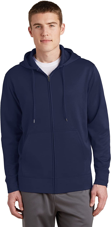 Sport-Tek Sport-Wick Fleece Full-Zip Hooded Jacket M Navy
