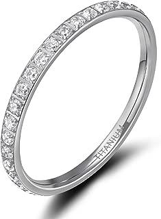 TIGRADE 2mm Women Titanium Eternity Ring Cubic Zirconia Anniversary Wedding Engagement Band Size 3-13