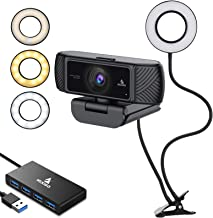 1080P 60FPS Webcam Lighting Kit with 2ft 4-Port USB 3.0 Hub, Microphone, 3.5 Inch Selfie Ring Light, Mount Stand, and Bui...
