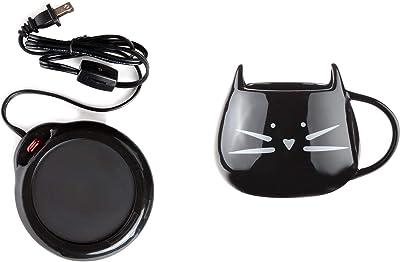 Home-X Mug Warmer, Desktop Heated Coffee & Tea - Candle & Wax Warmer (Black) and Ceramic Cat Coffee and Tea Mug, Black