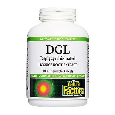 Natural Factors, DGL masticable 400 mg, raíz de regaliz, vegano, 180 comprimidos (180 porciones)