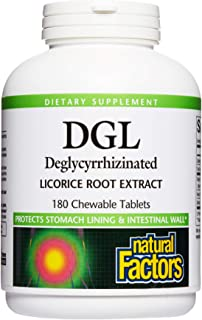 Natural Factors, Chewable DGL 400 mg, Licorice Root, Vegan, 180 tablets (180 servings)