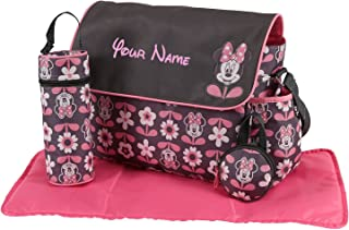 Personalized Disney Minnie Mouse Pink Flower Baby Duffel Diaper Bag with Flap- 17 Inches