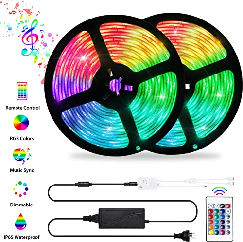 LED Strip Lights Sync to Music, OxyLED 32.8ft 10M 300LED Flexible RGB 5050 Color Changing Rope Lights with Remote Con...