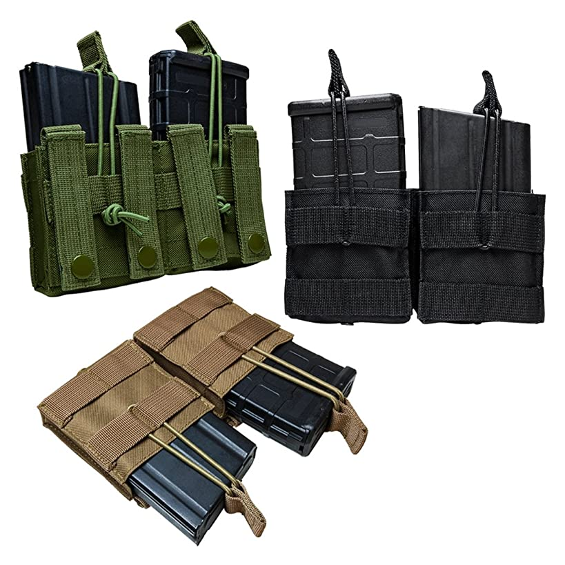 Tactical AR10 M1A FAL .308 7.62X51 Double 20 Round Magazine Pouch MOLLE Webbing Bungee Cords