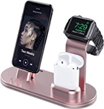 OLEBR Aluminum Charging Stand Compatible with iWatch 5 and 4 Watch Charging Stand for AirPods, iWatch Series 5/4/3/2/1,iPhone 11/ Xs/X Max/XR/X/8/8Plus/7/7 Plus /6S /6S Plus/iPad-Rose Gold
