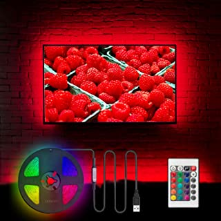TV LED Backlight for 32-60 Inch, Hamlite 8.2ft USB LED Strip Lights W-Shape Easy-Curve Design, Syn on/Off with TV, 16 Colors Changing TV Back Lights Bias Lighting, Under TV Stand, Soundbar, PC