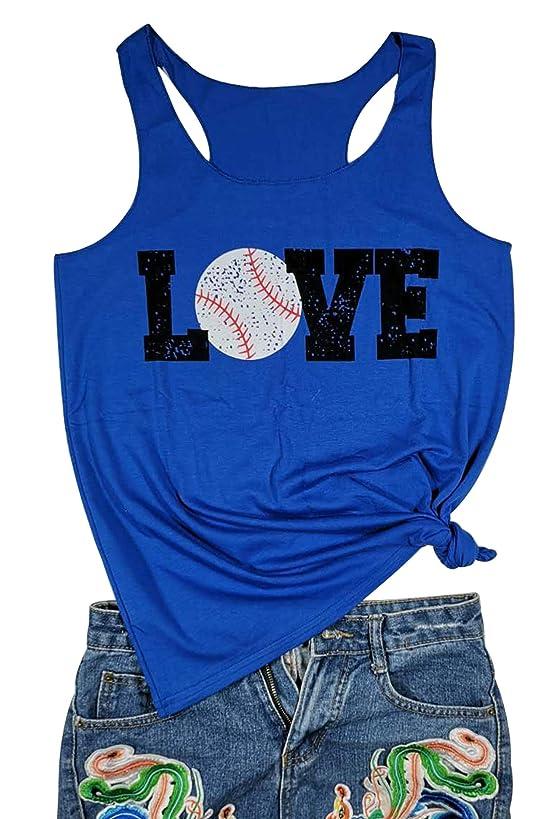Love Baseball Mom Racerback Tank Tops Women Casual Summer Graphic Cute Sleeveless Shirts Tees