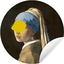 Muursticker Oude meestersKerst illustraties - Wandcirkel Oude meestersKerst illustraties - Meisje met de parel van oude me...