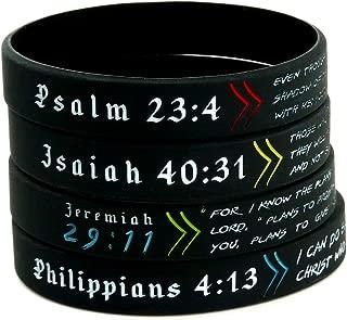 Bible Wristbands, Gift Pack - Set of 4 Scripture Bracelets - Adult Size for Men Women