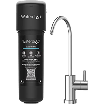 Waterdrop 10UB Under Sink Water Filter System, 8K High Capacity Drinking Water Filtration System, with Dedicated Brushed Nickel Faucet, Removes 99% Lead, Chlorine, Bad Taste & Odor, USA Tech