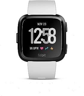 Fitbit EU Versa, (NFC), White Band/Black Aluminum Case, EU (S and L Bands Included)