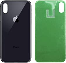Apple iPhone X Replacement Back Glass Cover Back Battery Door w/Pre-Installed Adhesive,Best Version Apple iPhone X All Models OEM Replacement (Black)