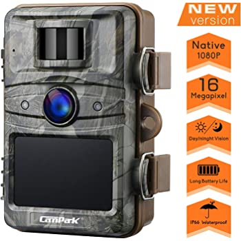 "Campark Upgrade T70 Trail Game Camera No Glow 16MP 1080P Night Vision Outdoor Hunting Cam Security Motion Activated Camera with 2.4"" LCD and IP66 Waterproof Battery Powered"