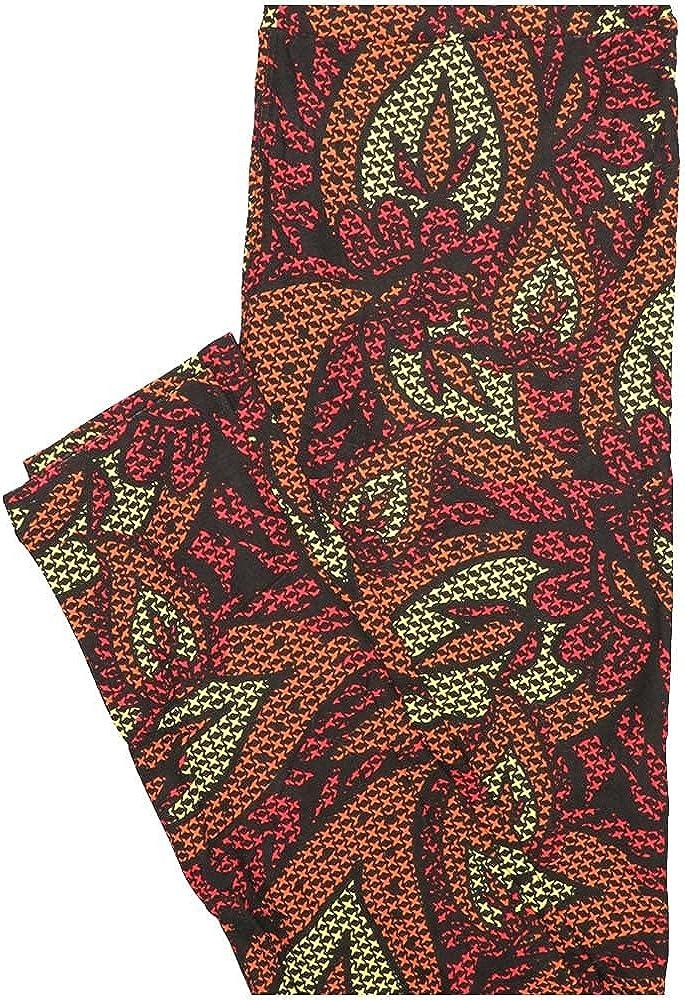 Lularoe One Size OS Paisley Black Pink Orange Yellow Polka dot Floral Leggings (OS fits Adults 2-10)
