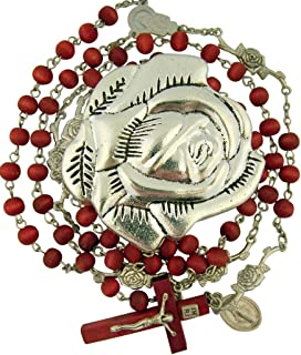Religious Gifts Rose Scented Wood Prayer Bead Rosary in Metal Rosebud Case, 24 1/4 Inch