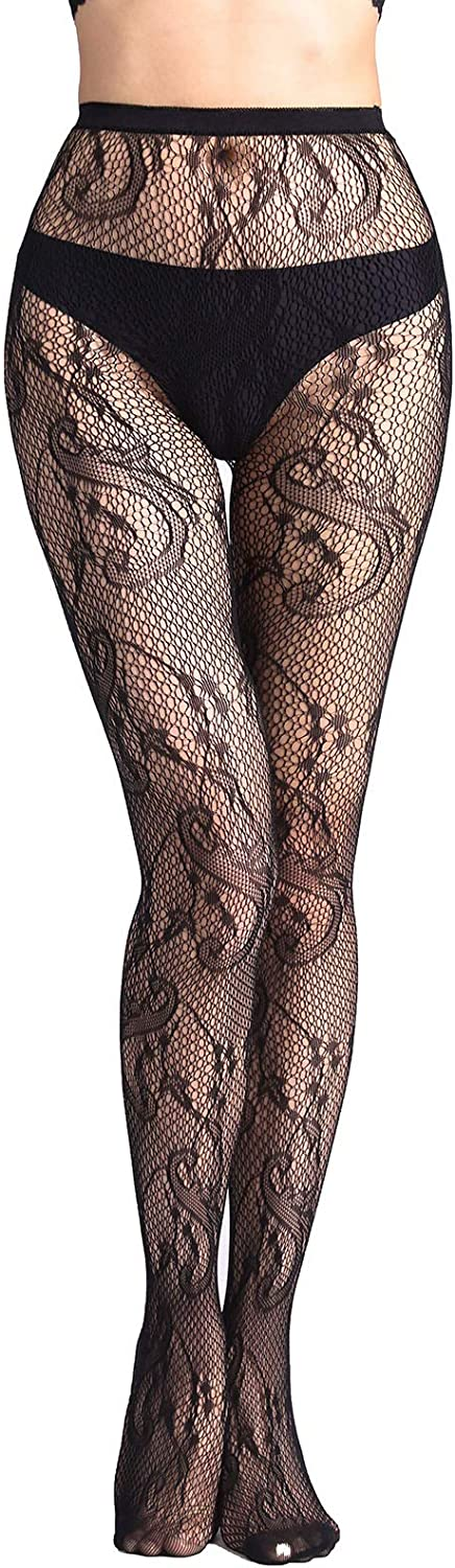 E-Laurels Women Sexy Lace Patterned Tights Fishnet Floral Stockings Small Hole Pattern Leggings Net Pantyhose Black
