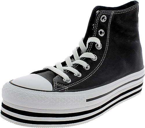 Converse Scarpe da Donna Sneakers Chuck Taylor in Pelle Nera ...