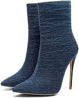 Enkellaarzen Vrouwen, Dames Denim Sexy Laarzen, Puntige Stiletto Hoge Hakken Damesschoenen,Dark blue,39