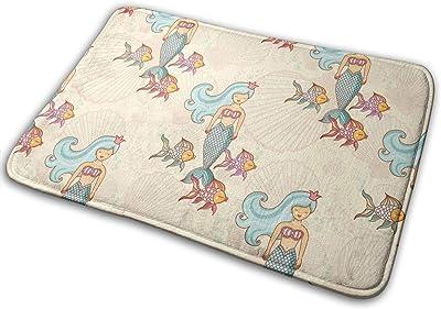Fish and Mermaids Carpet Non-Slip Welcome Front Doormat Entryway Carpet Washable Outdoor Indoor Mat Room Rug 15.7 X 23.6 inch