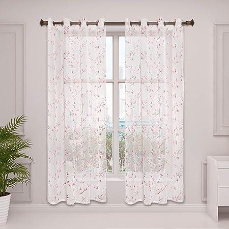 Gardinen Blumen Vorhang Ösen Wohzimmer Dekoschal Schlaufenschal Transparent