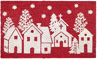 "Rugsmith White Machine Tufted Winter Homes Doormat, 18"" x 30"", Red"