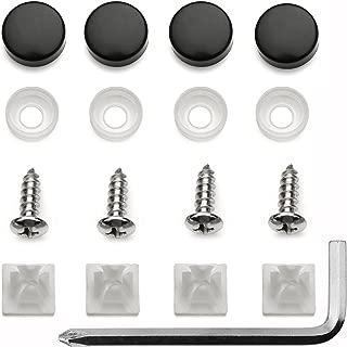Stainless Steel License Plate Frame Screws Fasteners + Black Screw Caps