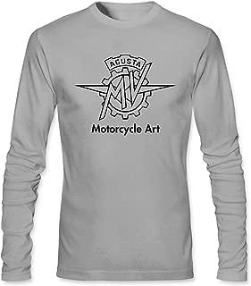 Men's MV Agusta Motorcycle Art Long Sleeve Cotton T shirt light grey XL
