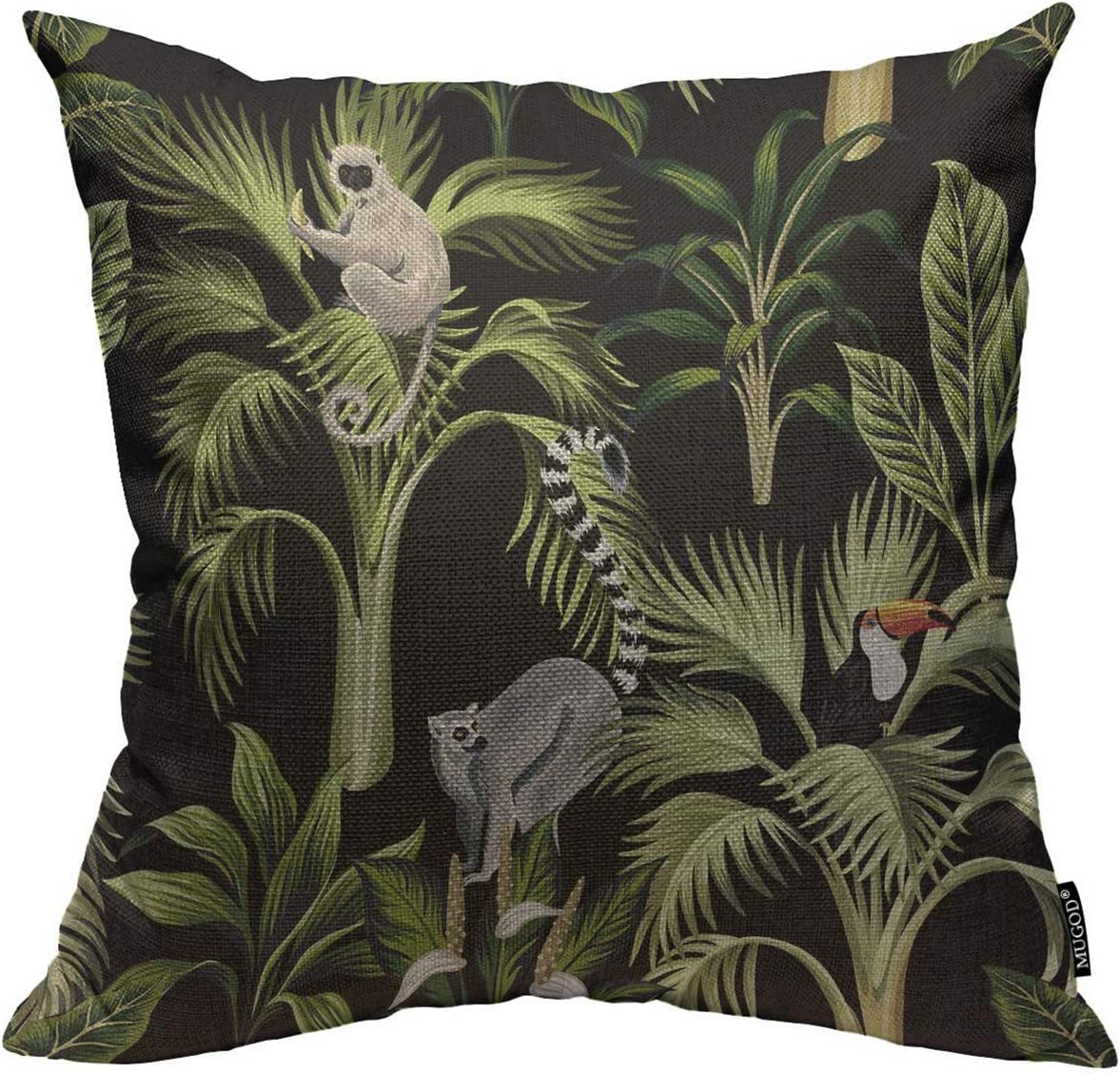 Mugod Floral Throw Pillow Cover Tropical Plants Palm Trees Lemur Sloth  Toucan and Bird Decorative Square Pillow Case for Home Bedroom Living Room  ...