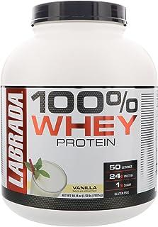 """ Labrada Nutrition 100% Whey Protein (Vanilla, 4.13 lbs/1875 g, 50 servings) 24g Protein, 1 g Sugar, No Trans-fat, High i..."