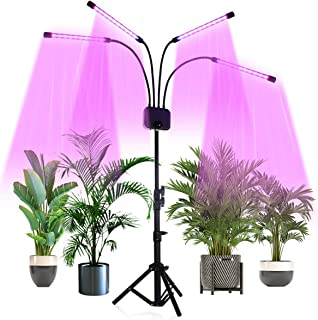 LED Grow Lights with Stand,Juhefa Full Spectrum Four-Head 80W 120LED Floor Plant Light for Indoor Tall & Large Plants,Timing Function 3/9/12H,Tripod Adjustable 15-60 inch