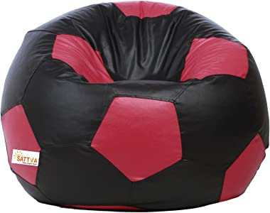 Sattva Football XXXL Bean Bag Cover (Without Beans) Dual Colour - Black and Pink