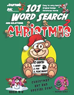 101 Word Search for Kids 2: SUPER KIDZ Book. Children - Ages 4-8 (US Edition). Bear Wish List, Smile, Christmas Words w cu...