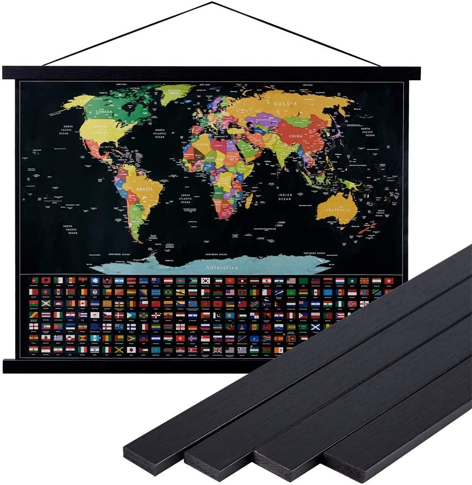 Lanpn 18x24 18x12 18x24 Black Poster Frame,18 inch Wide Magnetic Poster Hanger for Any Length Posters, Prints, Maps, Scrolls, and Artwork - Wall Hanging Wooden Frame